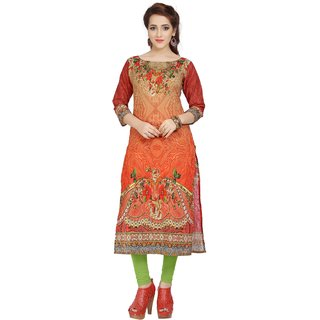Ziyaa Multicolor Printed Cotton Straight Kurti