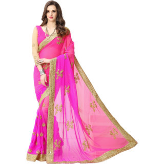 Aahwan Purple Georgette Embroidered Saree With Blouse