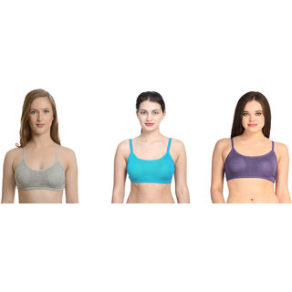 Bahucharaji Creation Blue Cotton Lycra Sports Bras