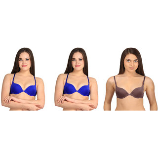 Bahucharaji Creation Blue Nylon Push Up Bra
