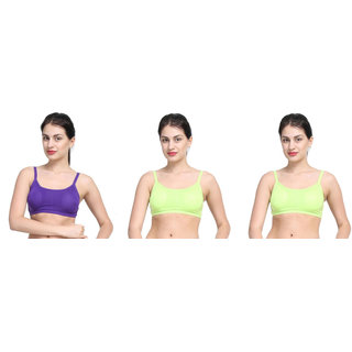 Bahucharaji Creation Green Cotton Lycra Sports Bras