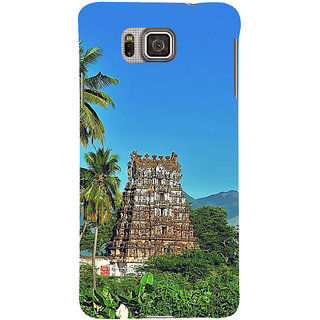 Ifasho Designer Back Case Cover For Samsung Galaxy Alpha :: Samsung Galaxy Alpha S801 ::  Samsung Galaxy Alpha G850F G850T G850M G850Fq G850Y G850A G850W G8508S :: Samsung Galaxy Alfa (Tamilnadu Temple Temple City Coconute Trees )