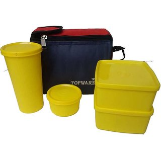 Topware Plastic 4 Yellow Container Lunch Box with Blue Red Box