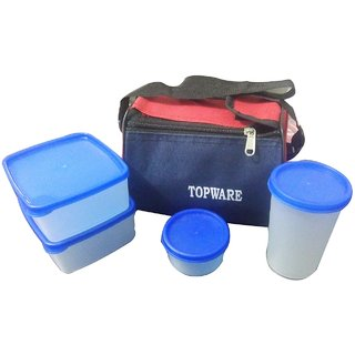 Topware Plastic 4 White Container Lunch box with  Red  Blue Carry Bag