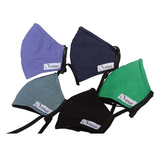 OnMask Anti Pollution Multiple Colors Mask - Pack Of 5 (Medium) (Colors may vary