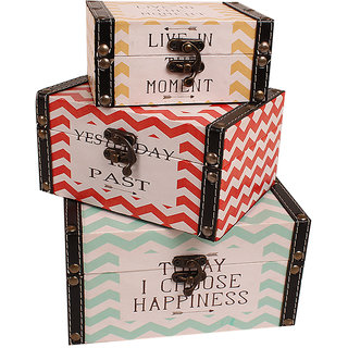 CLASSIC CHEVRON PRINTED NESTING CASES-SET OF 3 WITH SUPER QUOTES