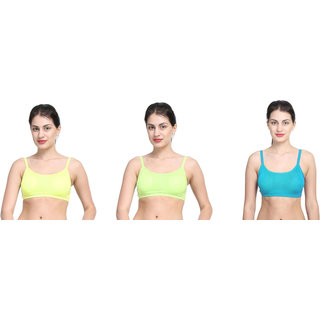 Bahucharaji Creation Green Cotton Lycra Sports Bras