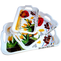 Imported & Designer Serving Tray Set Of 3 - Heavy Duty Unbreakable Plastic