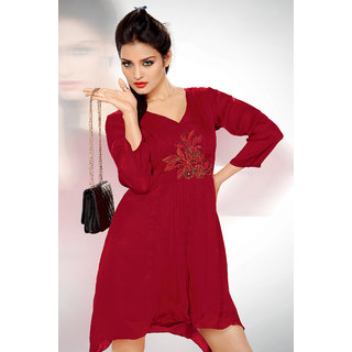 Rose Red Georgette Embroidery Casual Wear Kurti