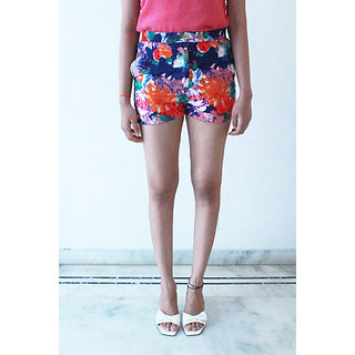 Colorful Floral Print Linen Shorts