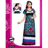 b9e14a7785 Hot Sleep Wear Printed Nighty Women Bed Gown Lounge Wear Slip Fun 3644 Blue  Maxi