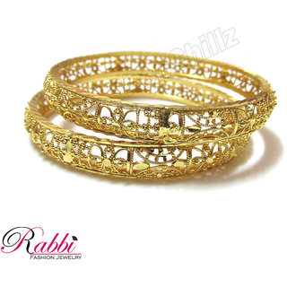 Rabbi Gold Plated 2 Pcs Netted Bangles BN07NET Size 2.6