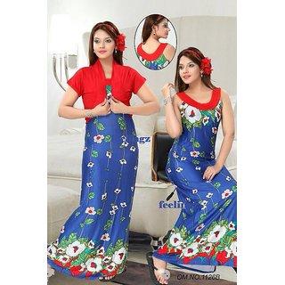 7abfece1ae Hot Sleep Wear 2p Nighty Jacket Blue Women Bed Gown Lounge Wear Slip Fun  1126B