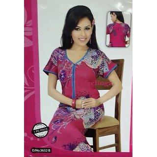 Hot Sleep Wear Printed Nighty Women Bed Gown Lounge Slip Fun 3632B Pink Maxi 61277b4ce