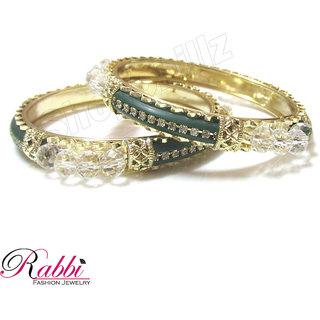 Rabbd Green 2 Pcs Heena Bangles  BN09CRS Size 2.6
