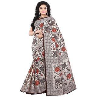 Minu Suits Beige Cotton Plain Saree With Blouse