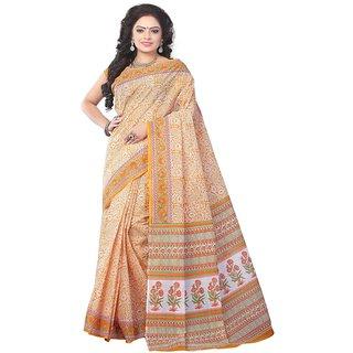 Minu Suits Gold Cotton Plain Saree With Blouse
