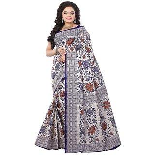 Minu Suits Blue Cotton Plain Saree With Blouse