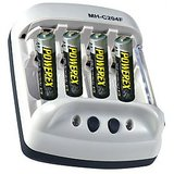 Powerex 4 CELL AA/AAA NiMH, NiCD Smart Pulse Battery Charger + 4 X 2500 MAh NiMH Batteries + Power Adapter + Car Charger + Battery Holder