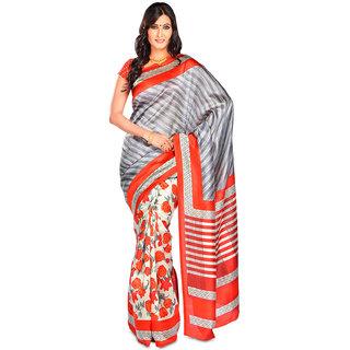 664963699 Buy Ishin Grey Bhagalpuri Silk Printed Saree With Blouse Online ...