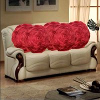 Sweet Home Pack Of 5 Round Design Tissue Cushion Cover - Maroon