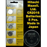 CR2016 Maxell Battery 5 Pieces. 3V Micro Lithium Button Coin Cell Made In Japan