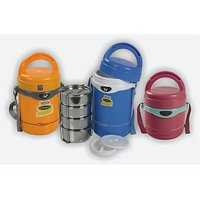 Blueplast Hot Lunch Box With 3 Pcs. Stainless Steel Containers