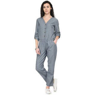 Tunic Nation Womens Grey Ankle Length Denim Jumpsuit