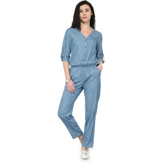Tunic Nation Womens Blue Ankle Length Denim Jumpsuit