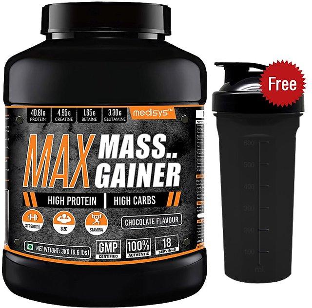 Medisys Max Mass Gainer 3Kg-Chocolate Free Shaker
