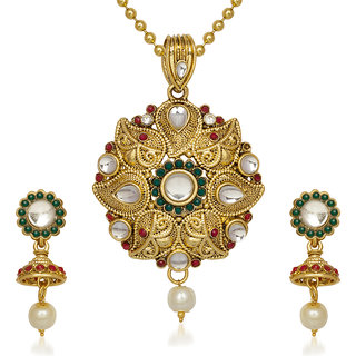 Kriaa by JewelMaze Maroon And Green Pota Stone Gold Plated Kundan Pearl Drop Pendant Set-AAA0620