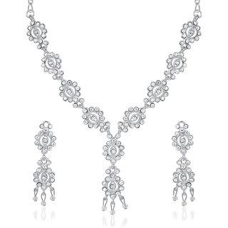 Kriaa by JewelMaze Silver Plated Zinc Alloy Austrian Stone Necklace Set-AAA0630