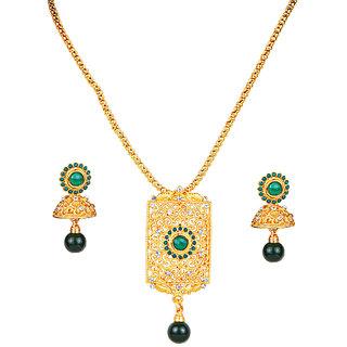 Kriaa by JewelMaze Green Pota and austrian Stone Zinc Alloy Gold Plated Pendant Set-AAA0641