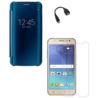 YGS Smart Clear View Slim Electroplating Mirror Transparent Hard Flip Cover Case For Samsung Galaxy J7 Prime-Blue With Tempered Glass And Micro OTG