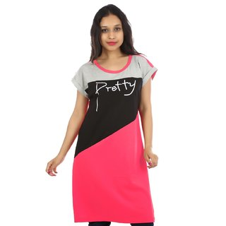 Visach Casual Straight top for women(VSLNG-PRTY-PNK)