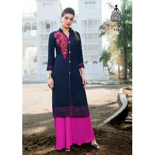 Designer Solid Color Kurti With Plazo For Women