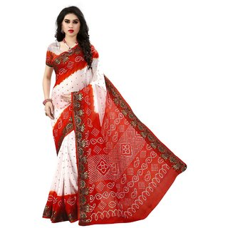 bb5f8a29792 Buy White red bandhani cotton silk saree Online - Get 40% Off