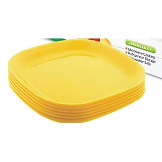 Plastic Plates  Squared Shape Coloured 6 pcs