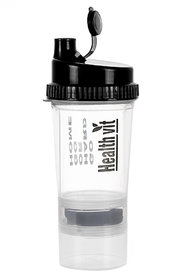 Healthvit Smart Shaker 500ml With Extra Compartment (White)  500 ml Shaker
