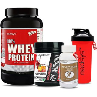 Medisys Power Booster Combo - Whey Protein - Cafe Mocha - 1kg +Pre Workout Free Multivitamin  Shaker