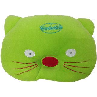 Wonderkids Cat Shape Baby Pillow - 0 to 12 months (green)