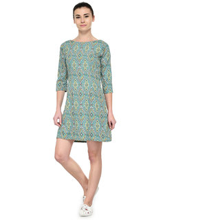Tunic Nation Womens Green Polyester Printed Dress