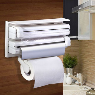 Urban Living 3 In 1 Kitchen Triple Paper Dispenser  Holder(38.1X19.05X7.6 Cm,White)