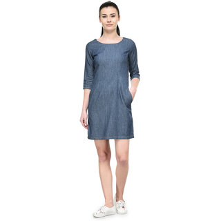 Tunic Nation Womens Blue Denim Solid Dress