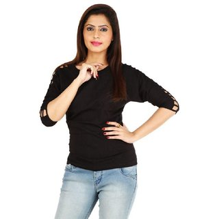 Visach Western casual Top with work on sleeves(VSTOP1916-BLK)