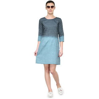 Tunic Nation Womens Blue Denim Tie And Dye Dress