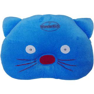 Wonderkids Cat Shape Baby Pillow - 0 to 12 months(blue)