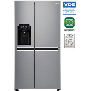 LG Gc L247SlUV 668 Litres Side By Side Frost Free Refrigerator  Shiney Steel