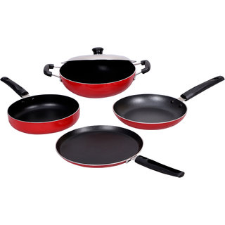 K.G. STAR 5 PCS. RED, 2.6MM THICKNESS HIGH QUALITY ALUMINIUM COOKWARE SET
