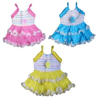 c054ec3bf28e Buy Cotton Frock Set of Three Combo For Girl Baby Online   ₹1499 ...